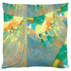 Abstract Flower Design in Turquoise and Yellows Large Flano Cushion Cases (Two Sides)