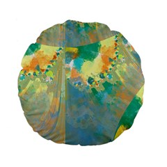 Abstract Flower Design In Turquoise And Yellows Standard 15  Premium Flano Round Cushions