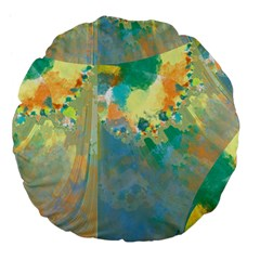 Abstract Flower Design in Turquoise and Yellows Large 18  Premium Flano Round Cushions