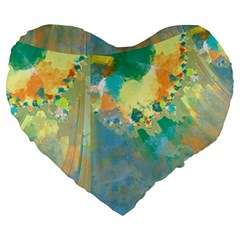 Abstract Flower Design in Turquoise and Yellows Large 19  Premium Flano Heart Shape Cushions