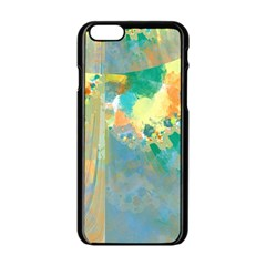 Abstract Flower Design In Turquoise And Yellows Apple Iphone 6 Black Enamel Case