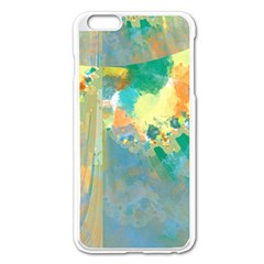 Abstract Flower Design in Turquoise and Yellows Apple iPhone 6 Plus Enamel White Case