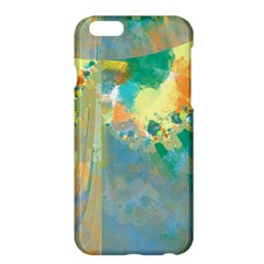 Abstract Flower Design in Turquoise and Yellows Apple iPhone 6 Plus Hardshell Case