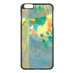 Abstract Flower Design In Turquoise And Yellows Apple Iphone 6 Plus Black Enamel Case