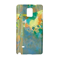 Abstract Flower Design In Turquoise And Yellows Samsung Galaxy Note 4 Hardshell Case