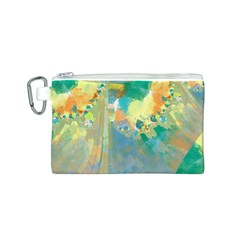 Abstract Flower Design in Turquoise and Yellows Canvas Cosmetic Bag (S)