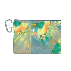 Abstract Flower Design in Turquoise and Yellows Canvas Cosmetic Bag (M)