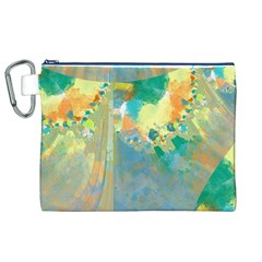 Abstract Flower Design In Turquoise And Yellows Canvas Cosmetic Bag (xl)