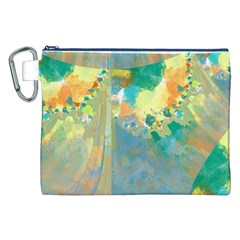 Abstract Flower Design in Turquoise and Yellows Canvas Cosmetic Bag (XXL)