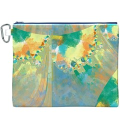Abstract Flower Design in Turquoise and Yellows Canvas Cosmetic Bag (XXXL)