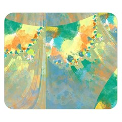 Abstract Flower Design In Turquoise And Yellows Double Sided Flano Blanket (small)