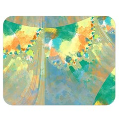 Abstract Flower Design in Turquoise and Yellows Double Sided Flano Blanket (Medium)