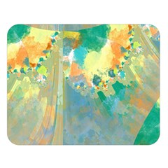 Abstract Flower Design In Turquoise And Yellows Double Sided Flano Blanket (large)