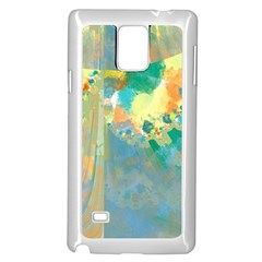 Abstract Flower Design in Turquoise and Yellows Samsung Galaxy Note 4 Case (White)