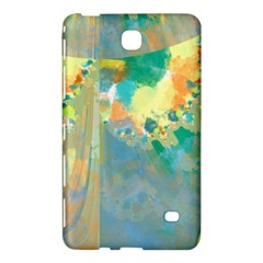 Abstract Flower Design in Turquoise and Yellows Samsung Galaxy Tab 4 (7 ) Hardshell Case