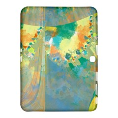 Abstract Flower Design in Turquoise and Yellows Samsung Galaxy Tab 4 (10.1 ) Hardshell Case