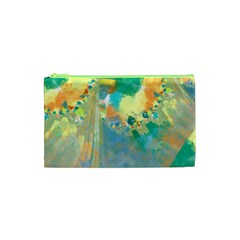 Abstract Flower Design In Turquoise And Yellows Cosmetic Bag (xs)