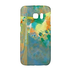 Abstract Flower Design in Turquoise and Yellows Galaxy S6 Edge