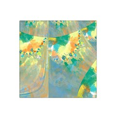 Abstract Flower Design In Turquoise And Yellows Satin Bandana Scarf