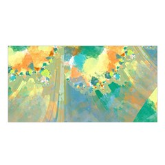 Abstract Flower Design in Turquoise and Yellows Satin Shawl