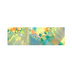 Abstract Flower Design in Turquoise and Yellows Satin Scarf (Oblong)