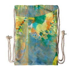 Abstract Flower Design in Turquoise and Yellows Drawstring Bag (Large)