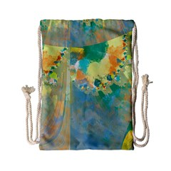Abstract Flower Design in Turquoise and Yellows Drawstring Bag (Small)