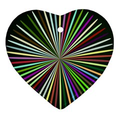 Colorful Rays Heart Ornament (two Sides)