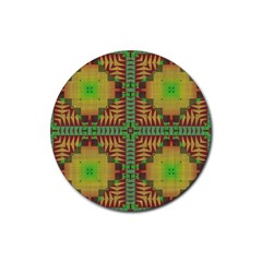 Tribal Shapes Pattern Rubber Coaster (round)