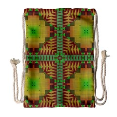 Tribal Shapes Pattern Large Drawstring Bag