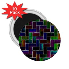 Colorful Rectangles Pattern 2 25  Magnet (10 Pack)