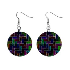 Colorful rectangles pattern 1  Button Earrings