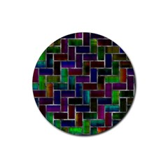 Colorful Rectangles Pattern Rubber Round Coaster (4 Pack)