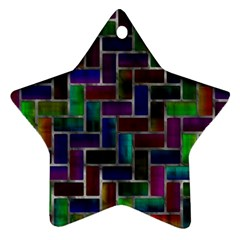 Colorful Rectangles Pattern Star Ornament (two Sides)