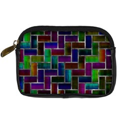 Colorful Rectangles Pattern Digital Camera Leather Case