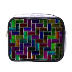Colorful Rectangles Pattern Mini Toiletries Bag (one Side)