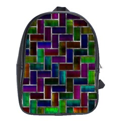 Colorful Rectangles Pattern School Bag (xl)