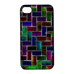 Colorful Rectangles Pattern Apple Iphone 4/4s Hardshell Case With Stand
