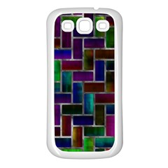 Colorful Rectangles Pattern Samsung Galaxy S3 Back Case (white)