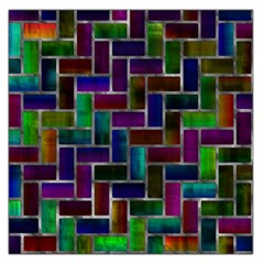 Colorful Rectangles Pattern Satin Scarf