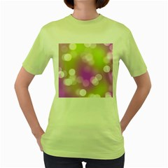Modern Bokeh 7 Women s Green T Shirt