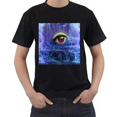 Waterfall Tears Men s T-Shirt (Black) (Two Sided)