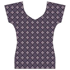 Cute Pretty Elegant Pattern Women s V-Neck Cap Sleeve Top