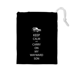 Keep Calm And Carry On My Wayward Son Drawstring Pouches (large)