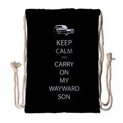 Keep Calm And Carry On My Wayward Son Drawstring Bag (large)