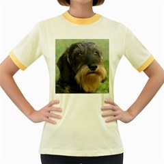 Wirehaired Dachshund Women s Fitted Ringer T-Shirts
