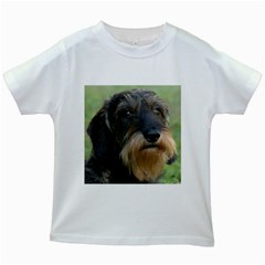Wirehaired Dachshund Kids White T Shirts