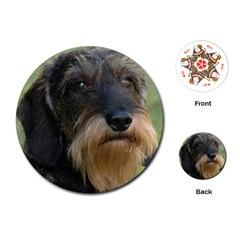 Wirehaired Dachshund Playing Cards (Round)