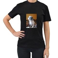 Shih Tzu Sitting Women s T-Shirt (Black) (Two Sided)