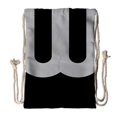 Black Grey Abstract  Drawstring Bag (large)
